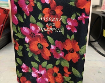 Vintage Retro 60s Telephone Address Book Floral Fabric Journal Japan 4x6