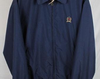 Vintage Tommy Hilfiger Blue Zip Up Crest Logo Harrington Jacket Sz L