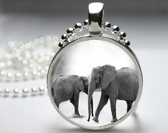 Gray Safari Elephants Round Pendant Necklace with Silver Ball or Snake Chain Necklace or Key Ring