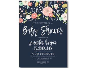Floral Baby Shower Invitation Baby Shower Invite Girl Baby Shower Invitation Shower Invitation Printable Baby Shower Invitation #CL324