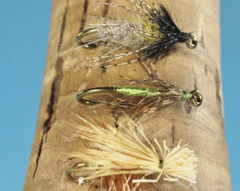 Caddis Fly Selection 2, fly fishing flies, Trout flies, hand tied flies, Caddis flies, Elk Hair Caddis, fishing flies in a box