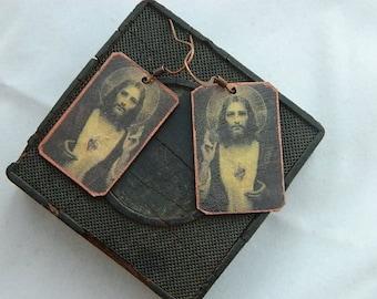Jesus earrings Jesus jewelry Sacred Heart of Jesus art jewelry