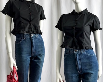 VINTAGE• 1960s Black Button up Ruffled Top•
