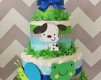 Frog, Snails and Puppy Dog Tails Diaper Cake, Boy Diaper Cakes