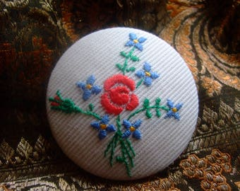 Flower embroidery button * 5 cm * handmade