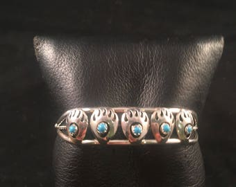 Native American Navajo Turquoise and Sterling Silver Bear Paw Cuff Bracelet