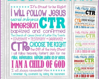 LDS Baptism Subway Art, BAPTISM Gift for Boys or Girls, It's Great to be 8, LDS Primary, Bulletin Board - Printable Instant Download