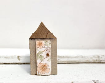 Pip house - Dads old shed vintage wallpapered door natural botanical woodhouse, salvaged wood, wood art, housewarming gift, home, rustic