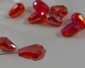 Crystal Glass Faceted Teardrop Beads Center Drill 15x10mm Cherry Red AB (4pk) PH-15x10TD-CRAB