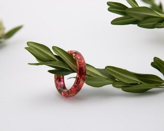 Red resin ring, Romantic ring, Resin stacking ring, Proposal ring, 1st anniversary gift, Love ring, Eco resin ring, Red epoxy ring,Ring gift