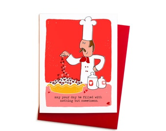 Foodie Valentine Greeting Card Set: Baker Chef Valentine in Pink and Red