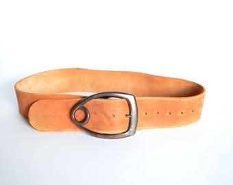 Vintage 1970s BRASS & leather statement belt