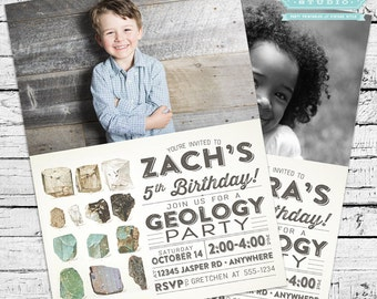 Geology Birthday Party Photo Invitation + Our 4 Favorite Printables!