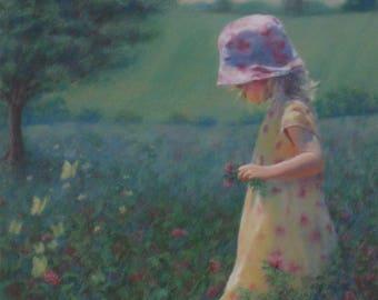 Original Painting, Girl, Butterflies, Country, Farm, Flowers, Original, Painting, Nature, Dress