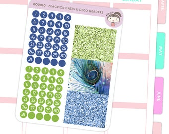 Dates and Glitter Headers Stickers Peacock / Planner Stickers