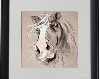 Stephen the Horse Black Framed Animal Print