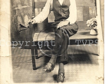 Vintage Photograph, RPPC African American Young Man