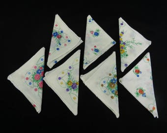 Vintage Handkerchiefs for Craft Projects - Seven Floral Handkerchiefs - Vintage Supplies