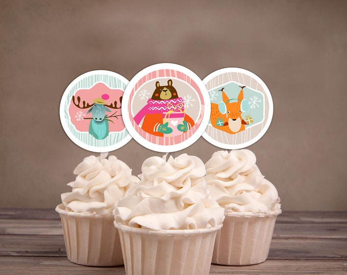 Woodland Cupcake Toppers Lumberjack birthday //favor tags // Lumberjack // Rustic // Bear , animals// birthday decor, winter onederland