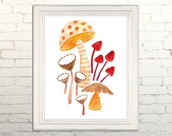 MUSHROOMS Printable Art Poster Watercolor Illustration Wall Art Decor Botanical Nature Boho Woodland Greenery Fungus  Fungi 5x7, 8x10, 11x14