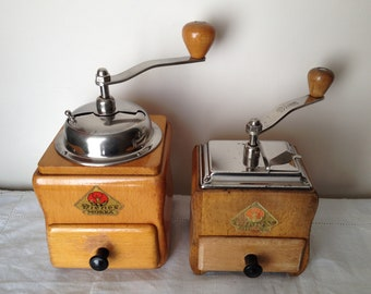 2 Coffee Mill German firm Peter Dienes models Mokka n º 623 and 750. Ca. 1950/60. Antique Coffee Grinder. Old Coffee Mill