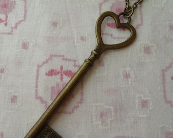 Heart Key Love Pendant Necklace
