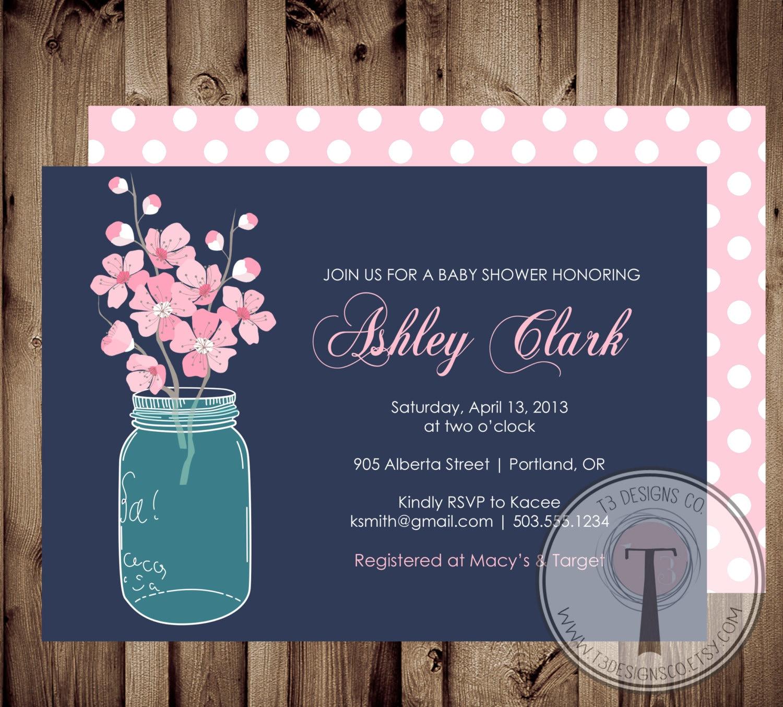 Baby girl baby shower invitation cherry blossoms baby shower baby baby girl baby shower invitation cherry blossoms baby shower baby shower invite mason jar baby showerflowers cherry blossoms filmwisefo