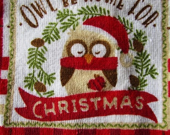 Owl be home for Christmas crochet top kitchen towel.