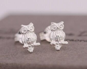 Sterling Silver Owl Stud Earrings, Silver Owl Earrings, Silver Owl Studs, Silver Owl Jewellery, 3D Owl Earrings, Girls Earrings,Gift for Her