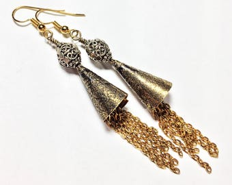 Etched Brass Cone Earrings - Free Domestic Shipping