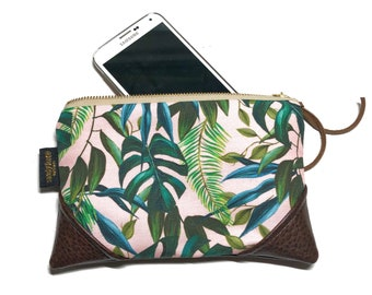 Mini Pale Pink Monstera Zipper Pouch / Clutch with inside lining and Zipper Pull or Leather Wristlet Strap