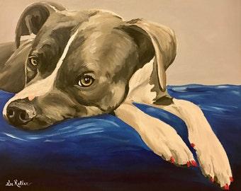 Pit Bull art print from original pit bull painting, pit bull prints. pit bull art, pit bull decor