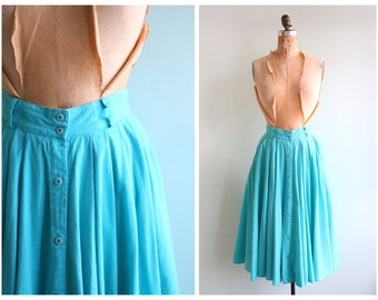 Vintage 1980's Turquoise Button Down Skirt | Size Extra Small