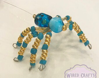 Speckled Turquoise and Gold Spider