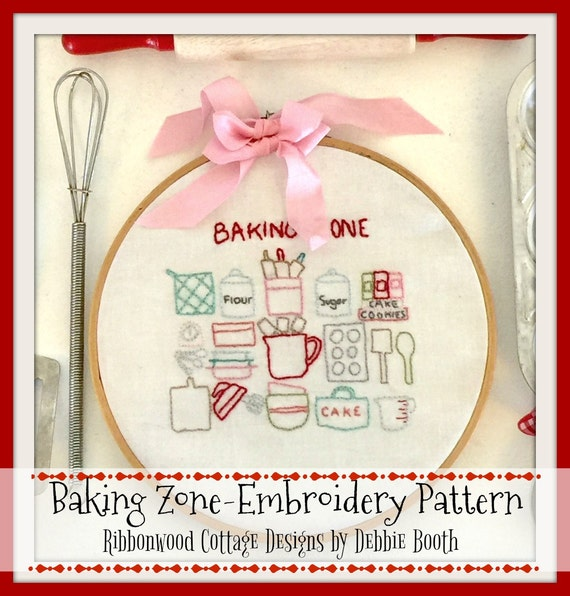 Baking Zone Embroidery Pattern PDF - Instant Download Hoop Art