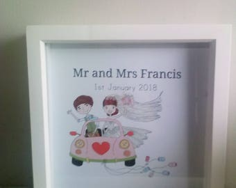 Personalised wedding marriage bride groom car vintage mr and Mrs flower glitter box frame gift present gift date
