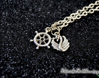 Captain Swan Necklace with a Ship's Wheel a Swan Charm, Once Upon a Time, Hook and Emma, Ouat Jewelry, Captain Hook, Emma Swan, Once Jewelry