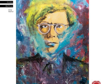 """Free Shipping - Andy Warhol Pop Art Painting (90x70cm) 35.4""""x27.6"""" acrylic painting ready to hang, hand painting by Carlos Pun"""
