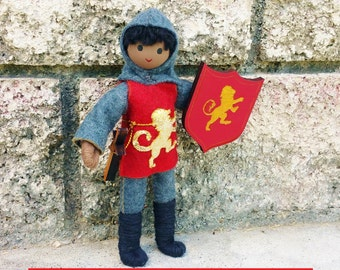 Knight Doll -Waldorf Knight - Dollhouse Castle - Bendy Doll - Black Knight Doll -  Red Tunic - African American Knight Doll