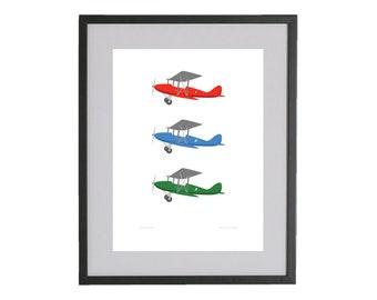 Kids wall art - Airplanes Illustration, Kids Room Art, Kids Wall Art, Aeroplanes, Aviation, Art print, Nursery print