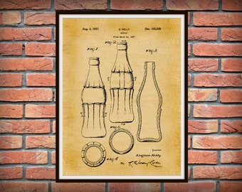 Patent 1937 Coca Cola Bottle 3rd Design with Hobble Skirt Art Print Poster Drawing Illustration Office Home Wall Decor