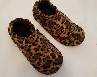 Brown Leopard Women's Soft Sole Shoes