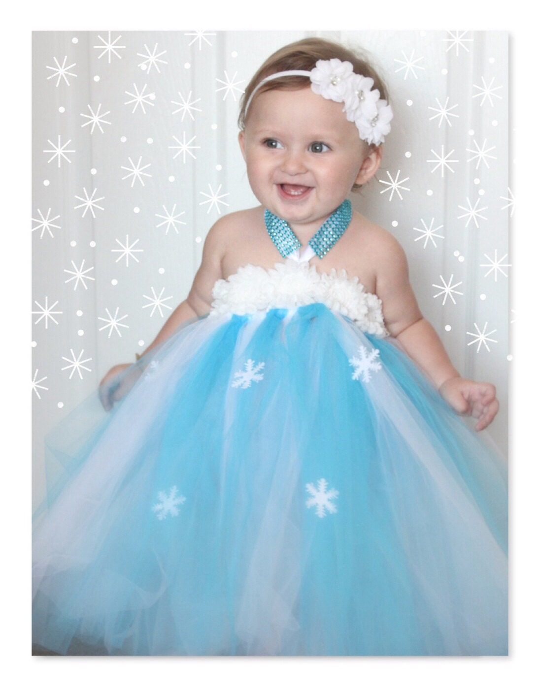 Baby Frozen Tutu Dress Frozen Costume Snowflake Winter
