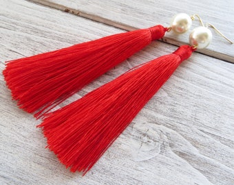 Red tassel earrings, statement earrings, extra long earrings, silk fringe earrings, white pearl earrings, dangle earrings, wedding jewelry
