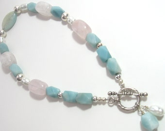 Amazonite with Rose Quartz  and  Pearl Necklace