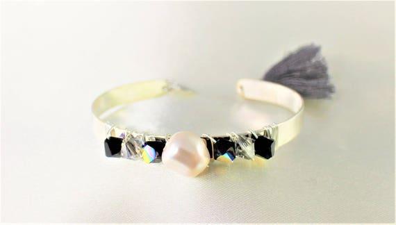 bracelet jonc mariage  swarovski noir et blanc plaqué argent
