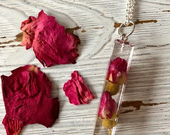 real rosebud statement necklace, gift for her