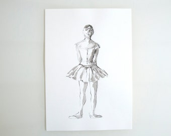 Original ballerina pencil drawing on paper, Edgar Degas inspiration drawing, pose dancer, pencil drawing, art, pencil art by Cristina Ripper
