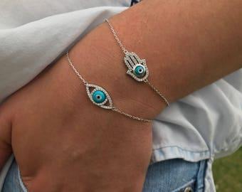Sterling silver Hamsa Bracelet and Silver Evil Eye bracelet delicate dainty hand of fatima bracelet womens hamza evil eye bracelet Fatimah