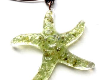 Starfish pendant Starfish Resin peridot-hand-crafted necklace Boho Chic copper Green